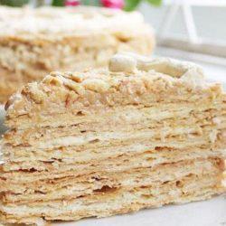 Торт «наполеон» зі згущеним молоком пять простих покрокових рецептів