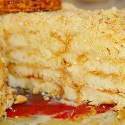 Торт «наполеон» з печиво «вушка» шість простих покрокових рецептів