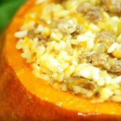 У духовці рис із мясом у гарбузі - докладні покрокові рецепти